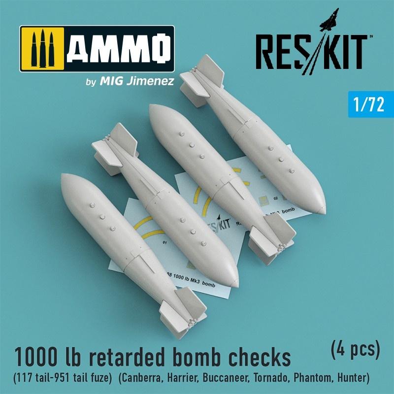 Reskit 1000 lb retarded bomb checks (117 tail-951 tail fuze)(Canberra,Harrier,Buccaneer,Tornado,Phantom,Hunter)(4 pcs) - Scale 1/72 - Reskit - RS72-0188