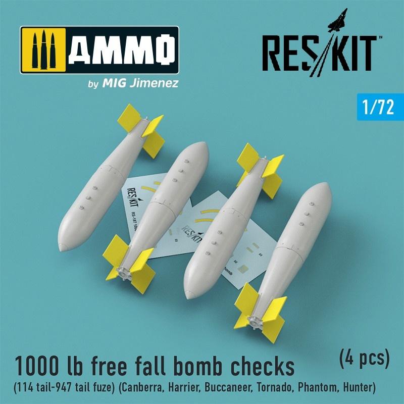 Reskit 1000 lb free fall bomb checks (114 tail-947 tail fuze)(Canberra,Harrier,Buccaneer,Tornado,Phantom,Hunter)(4 pcs) - Scale 1/72 - Reskit - RS72-0187