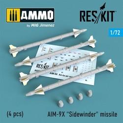 """AIM-9X """"Sidewinder"""" missile (4 pcs) (F-15, F-16, F-18, F-35) - Scale 1/72 - Reskit - RS72-0239"""