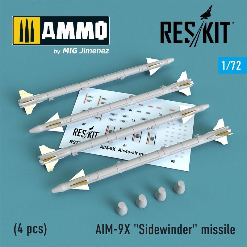 """Reskit AIM-9X """"Sidewinder"""" missile (4 pcs) (F-15, F-16, F-18, F-35) - Scale 1/72 - Reskit - RS72-0239"""