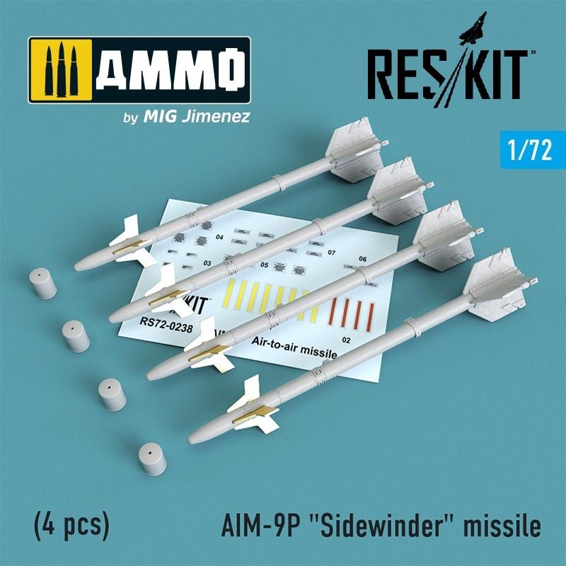 """Reskit AIM-9P """"Sidewinder"""" missile (4 pcs) F-4, F-5, F-16, F-15, F-14, Mirage F.1, Harrier, Mirage III, Hawk, Mirage 2000 - Scale 1/72 - Reskit - RS72-0238"""