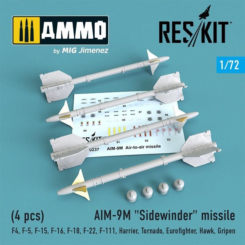 """Reskit AIM-9M """"Sidewinder"""" missile (4 pcs) F4,F-5,F-15,F-16,F-18,F-22,F-111,Harrier,Tornado,Eurofighter,Hawk,Gripen - Scale 1/72 - Reskit - RS72-0237"""