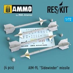 """AIM-9L """"Sidewinder"""" missile (4 pcs) F4,F-5,F-15,F-16,F-18,F-22,F-111,Harrier,Tornado,Eurofighter,Hawk,Gripen - Scale 1/72 - Reskit - RS72-0236"""
