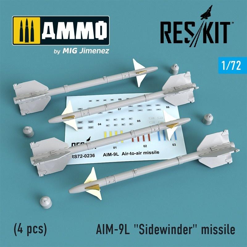 """Reskit AIM-9L """"Sidewinder"""" missile (4 pcs) F4,F-5,F-15,F-16,F-18,F-22,F-111,Harrier,Tornado,Eurofighter,Hawk,Gripen - Scale 1/72 - Reskit - RS72-0236"""