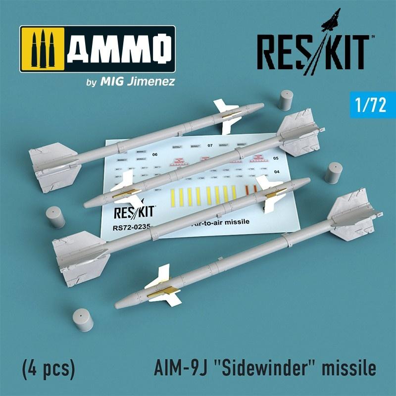 """Reskit AIM-9J """"Sidewinder"""" missile (4 pcs) F-4, F-5, F-16, F-15, F-14, Mirage F.1, Harrier, Mirage III, Hawk - Scale 1/72 - Reskit - RS72-0235"""