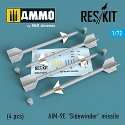 "AIM-9E ""Sidewinder"" missile (4 pcs) A-4, A-6, A-7, F-4, F-8, F-100, F-104, F-105, Mirage III - Scale 1/72 - Reskit - RS72-0234"
