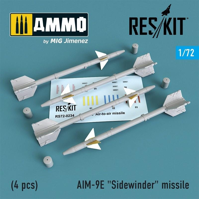 """Reskit AIM-9E """"Sidewinder"""" missile (4 pcs) A-4, A-6, A-7, F-4, F-8, F-100, F-104, F-105, Mirage III - Scale 1/72 - Reskit - RS72-0234"""