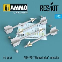 "AIM-9D ""Sidewinder"" missile (4 pcs) A-4, A-6, A-7, F-4, F-8, F-100, F-104, F-105, Mirage III - Scale 1/72 - Reskit - RS72-0233"