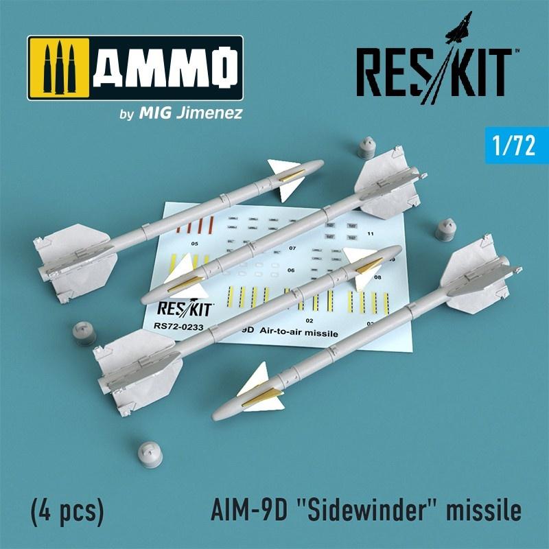 """Reskit AIM-9D """"Sidewinder"""" missile (4 pcs) A-4, A-6, A-7, F-4, F-8, F-100, F-104, F-105, Mirage III - Scale 1/72 - Reskit - RS72-0233"""