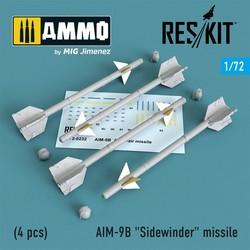 "AIM-9B ""Sidewinder"" missile (4 pcs) A-4,A-7,F-4D1,F-4,F-8,F-3H,F-11,F-86,F-100,F-104,F-105,Mirage III,Harrier - Scale 1/72 - Reskit - RS72-0232"