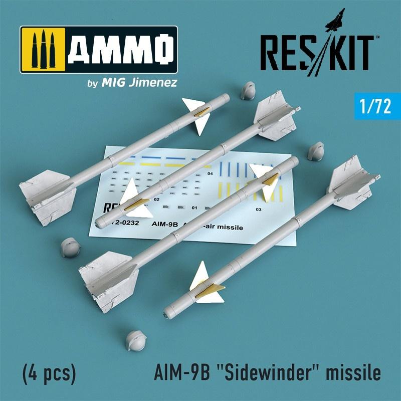 """Reskit AIM-9B """"Sidewinder"""" missile (4 pcs) A-4,A-7,F-4D1,F-4,F-8,F-3H,F-11,F-86,F-100,F-104,F-105,Mirage III,Harrier - Scale 1/72 - Reskit - RS72-0232"""