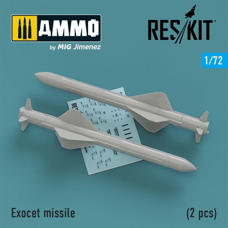 Reskit Exocet missile (2 PCS) Super Etendart, Mirage 2000 - Scale 1/72 - Reskit - RS72-0195