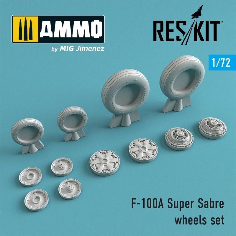 Reskit F-100 (A) Super Sabre wheels set - Scale 1/72 - Reskit - RS72-0272