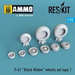 P-61 Black Widow wheels set - Scale 1/72 - Reskit - RS72-0258