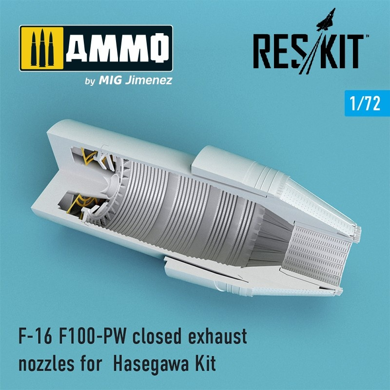 Reskit F-16 F100-PW closed exhaust nozzles for Hasegawa Kit - Scale 1/72 - Reskit - RSU72-0088