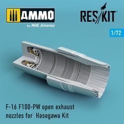 F-16 F100-PW open exhaust nozzles for Hasegawa Kit - Scale 1/72 - Reskit - RSU72-0087