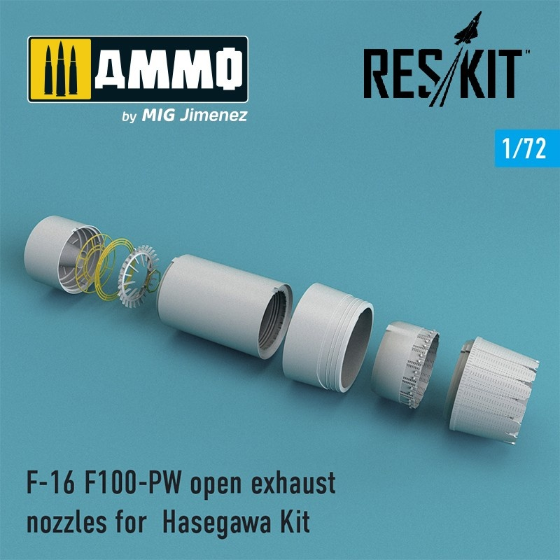 Reskit F-16 F100-PW open exhaust nozzles for Hasegawa Kit - Scale 1/72 - Reskit - RSU72-0087