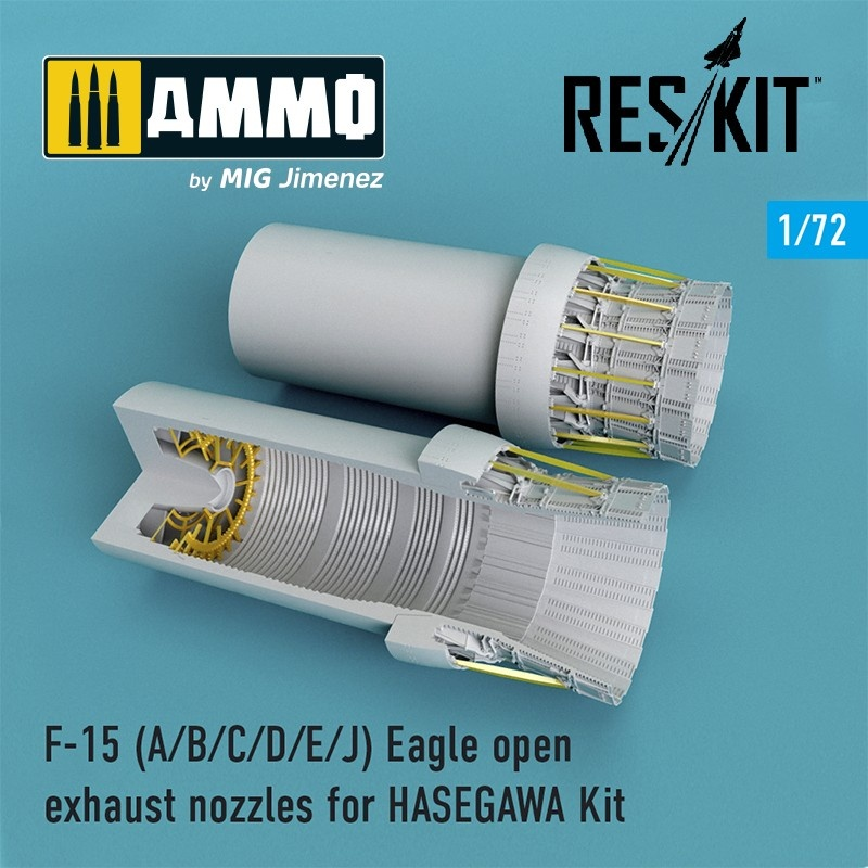 Reskit F-15 A/B/C/D/E/J Eagle open exhaust nozzles late version for HASEGAWA Kit - Scale 1/72 - Reskit - RSU72-0101
