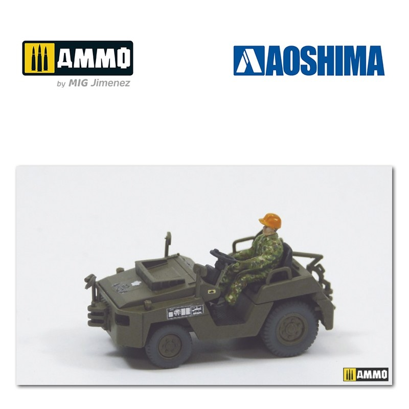Aoshima JGSDF Observation Helicopter OH-1 Ninja (w/Towing Tractor Set) - Scale 1/72 - Aoshima - AO-014356