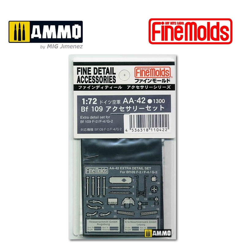 Fine Molds Extra Detail Set For Bf 109 F-2 / F-4 / G-2 - Scale 1/72 - Fine Molds - FMAA42