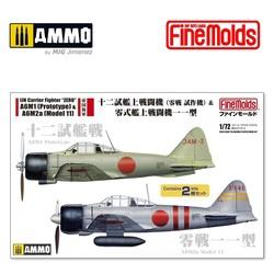 IJN Carrier Fighter ZERO A6M1 (Prototype) & A6M2a (Model 11) 2 in 1 - Scale 1/72 - Fine Molds - FMFP34