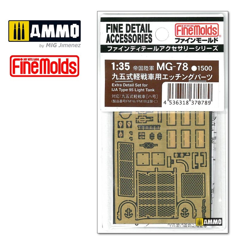 Fine Molds Extra detail parts for IJA Type 95 LT (Photo Etched) - Scale 1/35 - Fine Molds - FMMG78