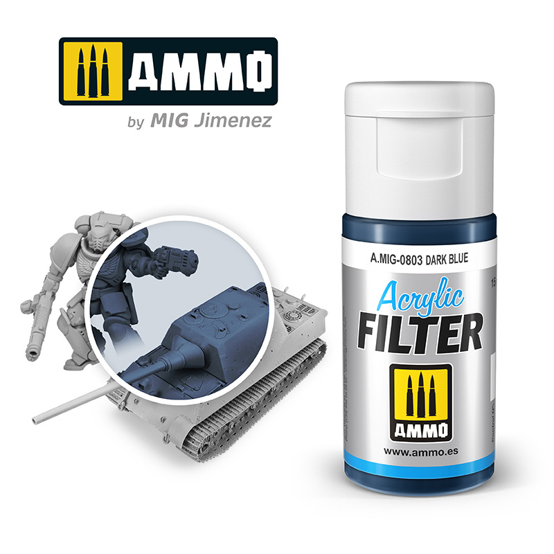 Ammo by Mig Jimenez Acrylic Filter Dark Blue - 15ml - Ammo by Mig Jimenez - A.MIG-0803