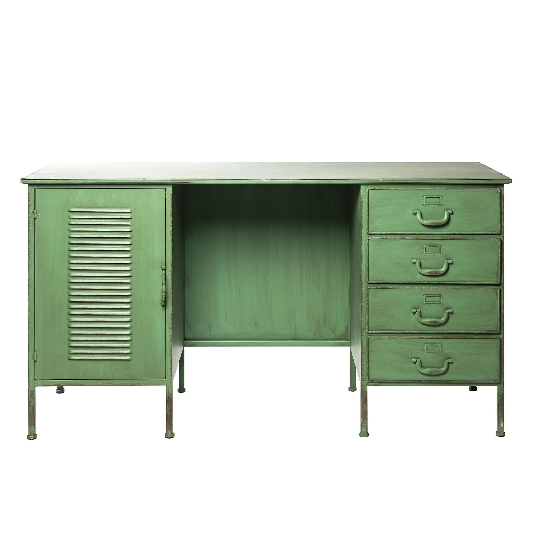 Vintage bureau uitgevoerd in groen metaal