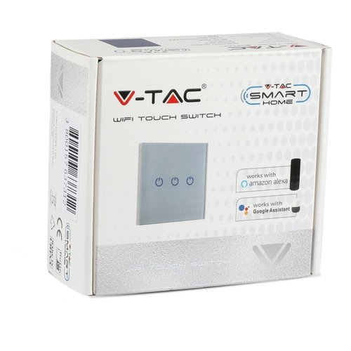 V-TAC Wifi Touch Switch White 2 Switches Compatible with Homeylux App, Alexa and Google Home