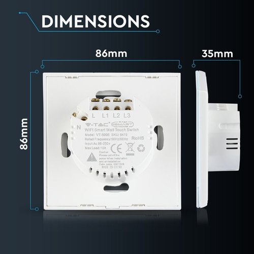 V-TAC Wifi Touch Switch White 3 Switches Compatible with Homeylux App, Alexa and Google Home