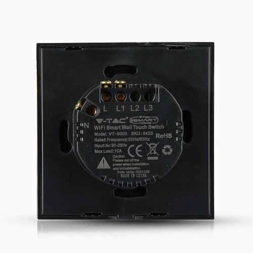 V-TAC Wifi Touch Switch Black 1 Switch Compatible with Homeylux App, Alexa and Google Home