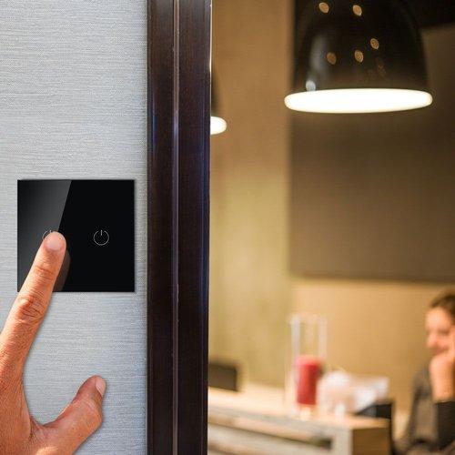 V-TAC Wifi Touch Switch Schwarz 2 Schalter Kompatibel mit Homeylux App, Alexa und Google Home