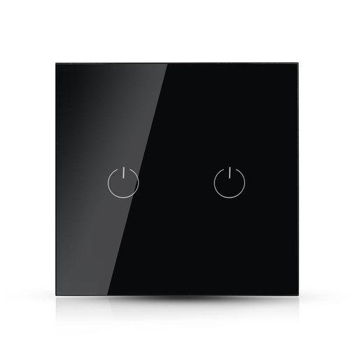 V-TAC Wifi Touch Switch Black 2 Switches Compatible with Homeylux App, Alexa and Google Home