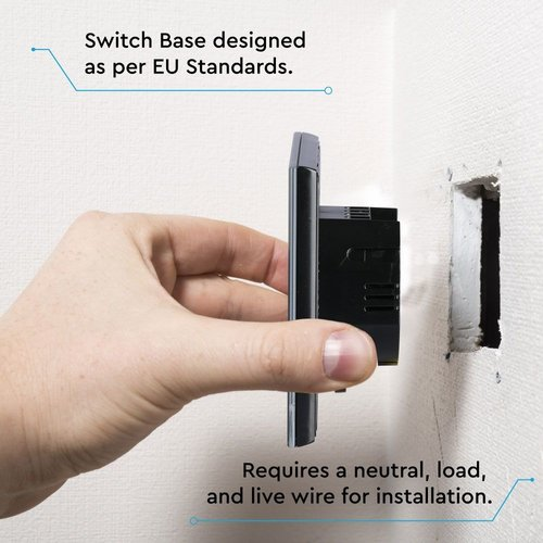 V-TAC Wifi Touch Switch Black 3 Switches Compatible with Homeylux App, Alexa and Google Home