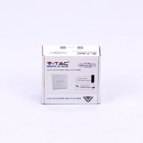 V-TAC Wifi Switch Dimmable White Compatible with Homeylux App, Alexa and Google Home