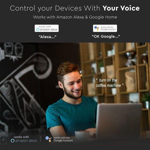 V-TAC Smart WiFi Wandcontactdoos Zwart Compatibel met Homeylux App, Alexa en Google Home