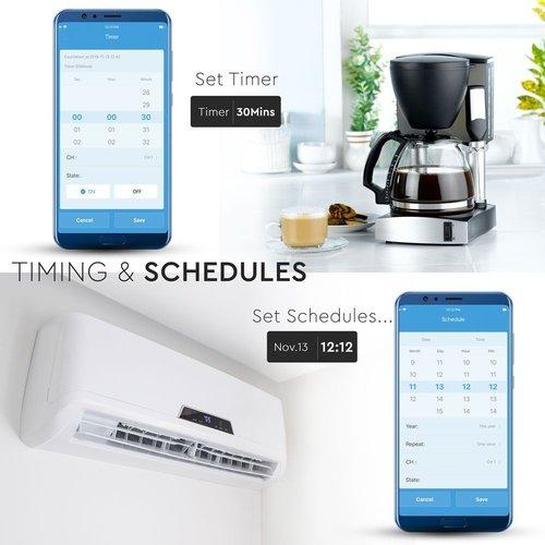 V-TAC Smart Wifi Wall Socket White Compatibel with Homeylux App, Alexa und Google Home