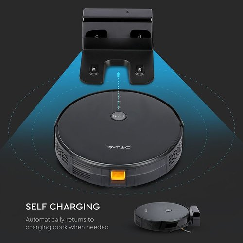 V-TAC Smart Robot Vacuum Cleaner Self Charging with Charging Station Black