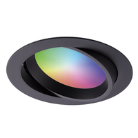 Smart WiFi LED inbouwspot Luna RGBWW kantelbaar Zwart IP44 1050lm