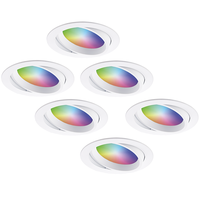 Set van 6 stuks smart WiFi LED inbouwspots Luna RGBWW kantelbaar Wit IP44 1050lm