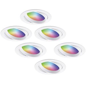 Homeylux Set van 6 stuks smart WiFi LED inbouwspots Luna RGBWW kantelbaar Wit IP44 1050lm