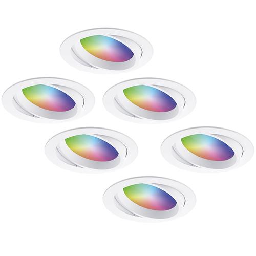 Homeylux Set of 6 smart WiFi LED recessed spotlights Luna RGBWW tiltable White IP44 1050lm