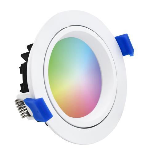 Homeylux Komplettset 6 Stück intelligenten WiFi LED-Einbaustrahlern Luna RGBWW schwenkbar Weiß IP44 1050lm
