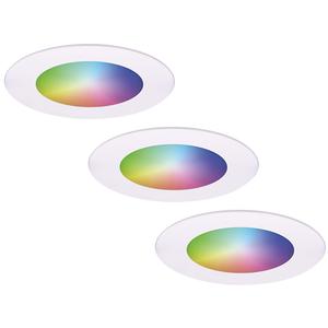 Homeylux Komplettset 3 Stück intelligenten WiFi LED-Einbaustrahlern Aura RGBWW Weiß IP44 1050lm