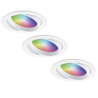 Set of 3 smart WiFi LED recessed spotlights Luna RGBWW tiltable White IP44 1050lm