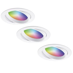 Homeylux Set van 3 stuks smart WiFi LED inbouwspots Luna RGBWW kantelbaar Wit IP44 1050lm