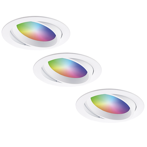 Homeylux Set of 3 smart WiFi LED recessed spotlights Luna RGBWW tiltable White IP44 1050lm