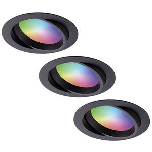 Homeylux Komplettset 3 Stück intelligenten WiFi LED-Einbaustrahlern Luna RGBWW schwenkbar Schwarz IP44 1050lm