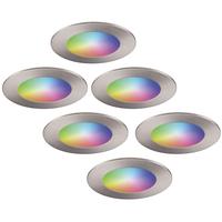 Set van 6 stuks smart WiFi LED inbouwspots Aura RGBWW RVS IP44 1050lm