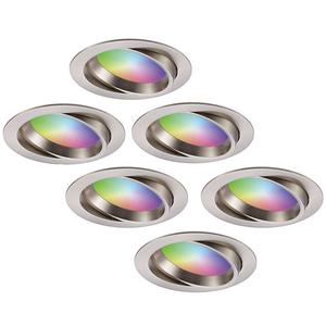 Homeylux Komplettset 6 Stück intelligenten WiFi LED-Einbaustrahlern Luna RGBWW schwenkbar Edelstahl IP44 1050lm
